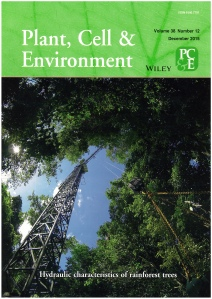 Hydraulic characteristics of rainforest trees. Journal Cover of Plant, Cell and Environment 38, Dec. 2015